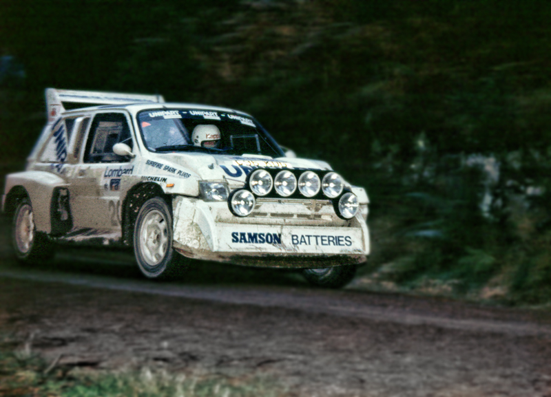 the works mg metro 6r4 group b rally car on the 1986 rac rally taken ...